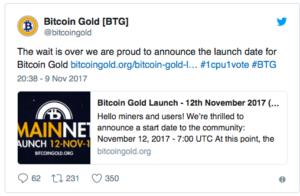 Bitcoin Gold - официальный запуск 12 ноября 2017 года