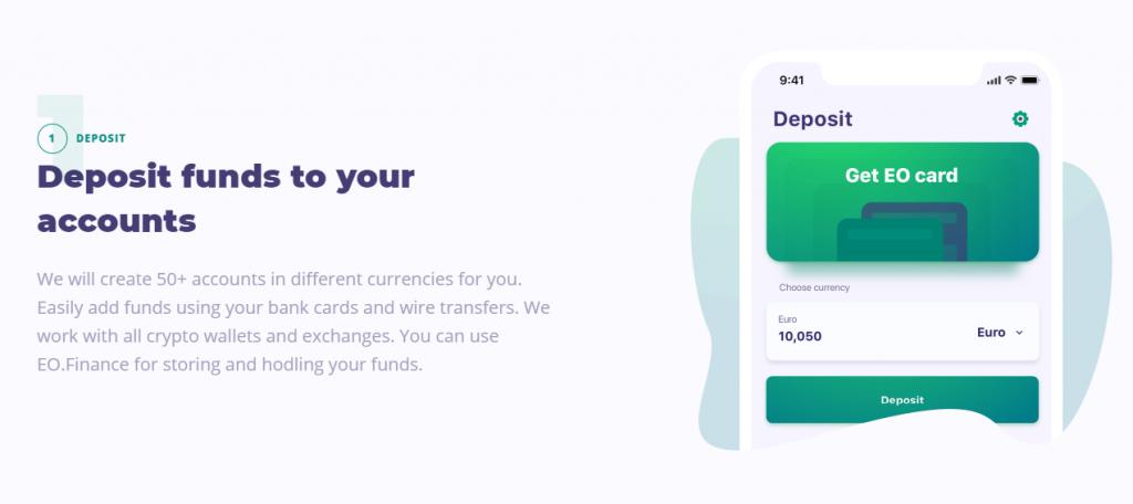 Как вносить депозит и выводить средства на EO.Finance