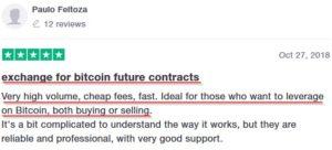 Мнение клиента BitMEX о преимуществах биржи.