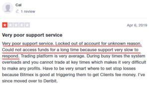 Отзыв: заблокировали счет на битмекс, поддержка долго не отвечала.